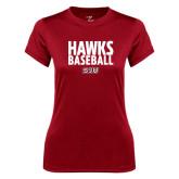 Ladies Syntrel Performance Cardinal Tee-Hawks Baseball Stacked