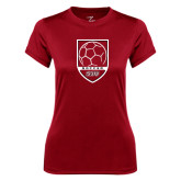 Ladies Syntrel Performance Cardinal Tee-Soccer Shield Design