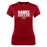 Ladies Syntrel Performance Cardinal Tee-Hawks Soccer Stacked