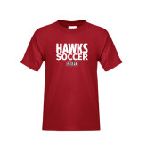 Youth Cardinal T Shirt-Hawks Soccer Stacked