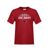 Youth Cardinal T Shirt-Basketball Half Ball Design