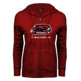 ENZA Ladies Cardinal Fleece Full Zip Hoodie-Grandma