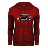 ENZA Ladies Cardinal Fleece Full Zip Hoodie-Hawk Head w/ Hawks