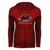ENZA Ladies Cardinal Fleece Full Zip Hoodie-Track and Field