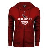 ENZA Ladies Cardinal Fleece Full Zip Hoodie-Basketball Sharp Net Design