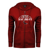 ENZA Ladies Cardinal Fleece Full Zip Hoodie-Basketball Half Ball Design
