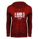 ENZA Ladies Cardinal Fleece Full Zip Hoodie-Hawks Basketball Stacked