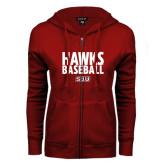 ENZA Ladies Cardinal Fleece Full Zip Hoodie-Hawks Baseball Stacked