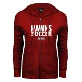 ENZA Ladies Cardinal Fleece Full Zip Hoodie-Hawks Soccer Stacked