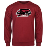 Cardinal Fleece Crew-Hawk Head w/ Hawks