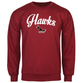 Cardinal Fleece Crew-Scripted Hawks