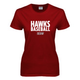 Ladies Cardinal T Shirt-Hawks Baseball Stacked