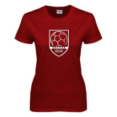 Ladies Cardinal T Shirt-Soccer Shield Design