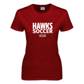 Ladies Cardinal T Shirt-Hawks Soccer Stacked