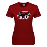 Ladies Cardinal T Shirt-Hawk Head w/ SUJ