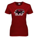 Ladies Cardinal T Shirt-Hawk Head w/ SJU