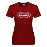 Ladies Cardinal T Shirt-Saint Josephs Hawks