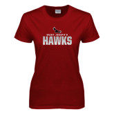 Ladies Cardinal T Shirt-Saint Josephs Hawks Splash
