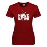Ladies Cardinal T Shirt-Hawk Nation