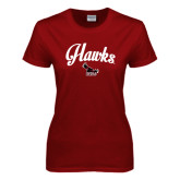 Ladies Cardinal T Shirt-Scripted Hawks