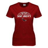 Ladies Cardinal T Shirt-Basketball Half Ball Design