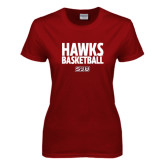 Ladies Cardinal T Shirt-Hawks Basketball Stacked