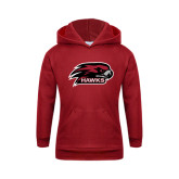 Youth Cardinal Fleece Hoodie-Hawk Head w/ Hawks