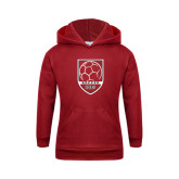 Youth Cardinal Fleece Hoodie-Soccer Shield Design