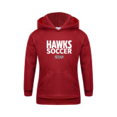 Youth Cardinal Fleece Hoodie-Hawks Soccer Stacked