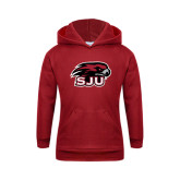 Youth Cardinal Fleece Hoodie-Hawk Head w/ SUJ