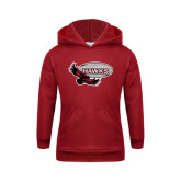 Youth Cardinal Fleece Hoodie-Primary Mark Distressed