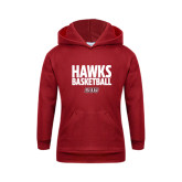 Youth Cardinal Fleece Hoodie-Hawks Basketball Stacked