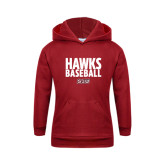 Youth Cardinal Fleece Hoodie-Hawks Baseball Stacked