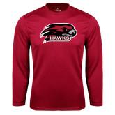 Performance Cardinal Longsleeve Shirt-Hawk Head w/ Hawks