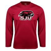 Performance Cardinal Longsleeve Shirt-Hawk Head w/ SJU
