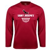 Performance Cardinal Longsleeve Shirt-Basketball Sharp Net Design