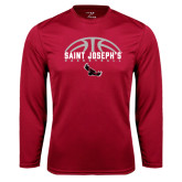 Performance Cardinal Longsleeve Shirt-Basketball Half Ball Design