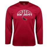 Syntrel Performance Cardinal Longsleeve Shirt-Basketball Half Ball Design