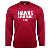Syntrel Performance Cardinal Longsleeve Shirt-Hawks Basketball Stacked