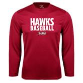 Performance Cardinal Longsleeve Shirt-Hawks Baseball Stacked