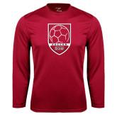Performance Cardinal Longsleeve Shirt-Soccer Shield Design