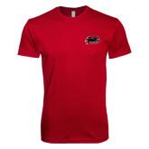 Next Level SoftStyle Cardinal T Shirt-Hawk Head w/ Hawks