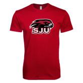 Next Level SoftStyle Cardinal T Shirt-Hawk Head w/ SJU