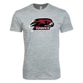 Next Level SoftStyle Heather Grey T Shirt-Hawk Head w/ Hawks