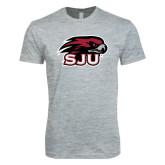 Next Level SoftStyle Heather Grey T Shirt-Hawk Head w/ SJU