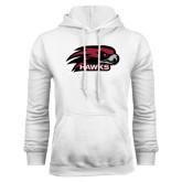 White Fleece Hoodie-Hawk Head w/ Hawks