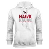 White Fleece Hoodie-Hawk Nation