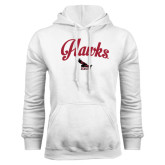 White Fleece Hood-Scripted Hawks