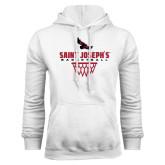 White Fleece Hoodie-Basketball Sharp Net Design