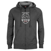 Charcoal Fleece Full Zip Hood-Soccer Shield Design
